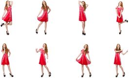 The redhead woman in red dress stock photos