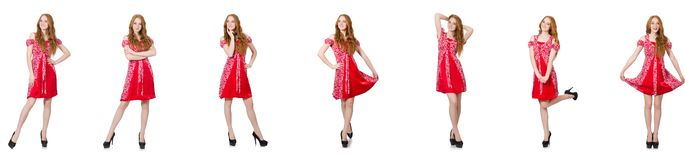 The redhead woman in red dress stock photography