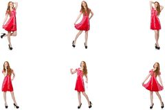 The redhead woman in red dress stock photo