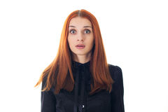 Redhead woman scared Stock Photo