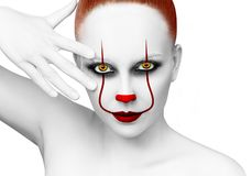 Redhead woman with scary clown grimm. Halloween. Isolated on white Stock Photos