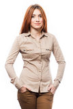 Redhead woman in shirt Royalty Free Stock Image