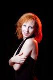 Redhead woman showing tongue Stock Photos