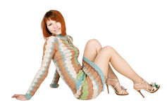 Redhead Woman Sitting On Floor And Smiling Royalty Free Stock Photos