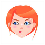 Redhead Woman Skeptic Face Flat Vector Icon Stock Photos