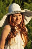 Redhead woman smiling Royalty Free Stock Photography