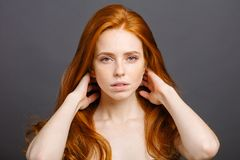 Redhead woman holding her healthy and shiny hair, studio grey. Redhead woman with strong healthy hair portrait. ginger girl shows natural hair strength Royalty Free Stock Photo