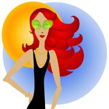Redhead Woman and Sunglasses Stock Photo