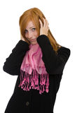 Redhead woman touching her hair Stock Photo