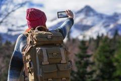 Redhead woman traveler Stock Photos