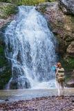 Redhead woman traveler Stock Images