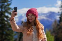 Redhead woman traveler Royalty Free Stock Photo