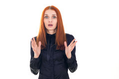 Redhead woman unpleasantly surprised Royalty Free Stock Photo