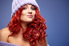 Redhead woman in warm clothing Royalty Free Stock Photos