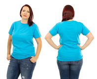 Redhead woman wearing blank light blue shirt Stock Images