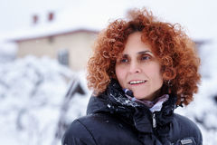 Redhead woman, winter portrait Royalty Free Stock Image