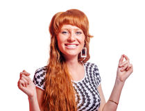 Redhead woman wondering Royalty Free Stock Photography