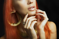 Redhead Women with Golden Make-up, Hands with Golden Manicure. M. Beautiful Women Lips with Stylish Golden Shiny Lipstick and Hands with Golden Manicure and Gold Stock Image