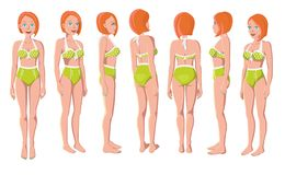 Redhead Women in Green Swimming Suit stock photo