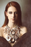 Redhead women with necklace Royalty Free Stock Photography
