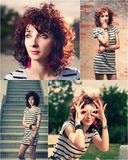 Redhead women outdoors. Set of four images collection collage Stock Images