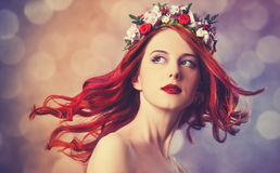 Redhead women with wreath. Stock Photography