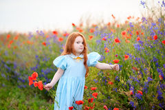 Redhead young girl gathers a bouquet of wild flowers Royalty Free Stock Images