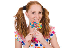 Redhead young girl with lolipops Royalty Free Stock Images