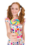 Redhead young girl with lolipops Royalty Free Stock Photography