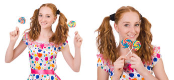 The redhead young girl with lolipops isolated on white Royalty Free Stock Photos