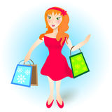 Redhead young girl in the shopping Royalty Free Stock Photo