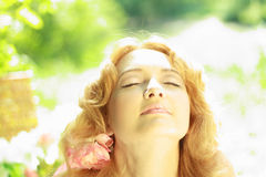 Redhead young woman outdoors Stock Photos