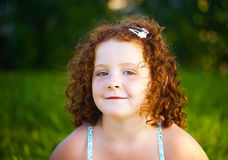 Redheaded beautiful girl. On a background of nature Stock Images