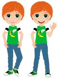 Redheaded Boy. Illustration of a redheaded boy. funny face and freckles. Fun outfit. Summer child. Friendly boy. Teen trendy kid Royalty Free Stock Photography