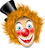 Redheaded clown. Illustration redheaded clown face in black hat Royalty Free Stock Image