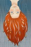 Redheaded dziewczyna z długie włosy, taśmy i mali dzwony, Zdjęcie Stock