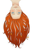 Redheaded dziewczyna z długie włosy, taśmy i mali dzwony, Zdjęcia Stock