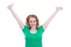 Redheaded girl delirious with joy - isolated on white Royalty Free Stock Image
