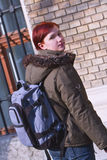 Redheaded girl student stock photography