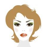Redheaded kobieta z makeup i fryzurą Zdjęcia Stock
