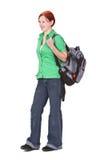 Redheaded meisje backpacker royalty-vrije stock foto's
