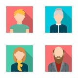 Redheaded teenager, a woman with a scarf, a gray-haired grandmother, a grandfather with a beard. Avatar set collection Stock Image
