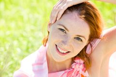 Redheaded woman Stock Images