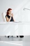 Redheaded woman in the workplace Stock Images