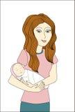 Redheadfrau, die neugeborenes Schätzchen anhält Stock Abbildung