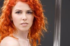 redheadkrigare royaltyfria foton