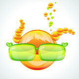 Redhed girl wearing green sunglasses royalty free stock images