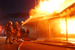 RedHouse. Historic cafe burns in fierce fire Stock Photography