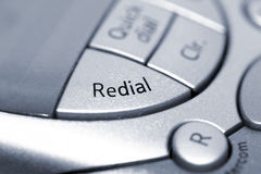 Redial. Macro of redial button on a digital phone stock photo
