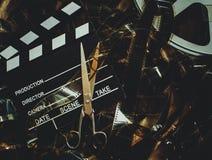 Redigera för begrepp för tappningfilmbakgrund och finalsnitt royaltyfri fotografi